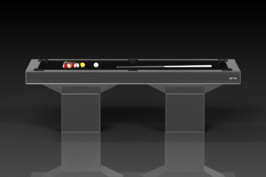 Elevate Customs modern design trestle pool table chrome 2