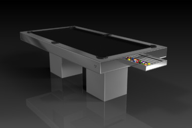 Elevate Customs modern design trestle pool table chrome 1