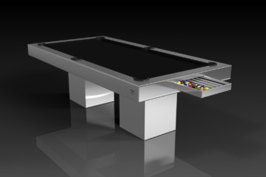 Elevate Customs modern design trestle pool table brushed aluminum 1