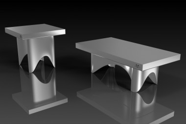 Ellipse Brushed Aluminum Coffee/End
